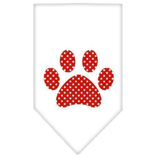 Red Swiss Dot Paw Screen Print Bandana-Dog Clothing-Bella's PetStor