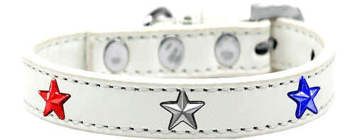 Red, White And Blue Stars Widget Dog Collar White Size-Summer-Bella's PetStor