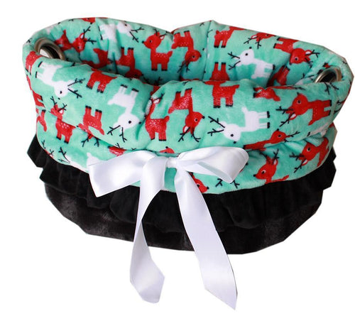 Reindeer Folly Reversible Snuggle Bugs Pet Bed, Bag, And Car Seat All-in-one-Christmas, Hannukah-Bella's PetStor