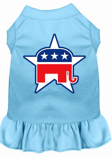 Republican Screen Print Dress Baby Blue-Dog Clothing-Bella's PetStor