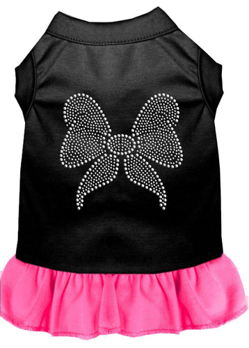 Rhinestone Bow Dress Black With Bright Pink-Dog Clothing-Bella's PetStor
