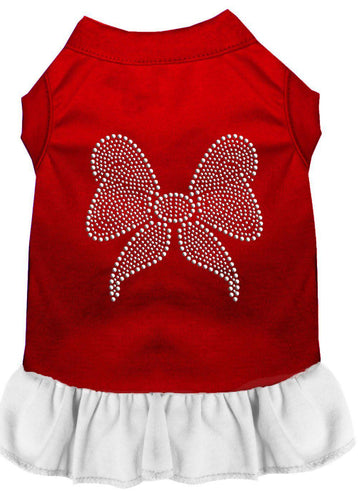 Rhinestone Bow Dress Red With White-Dog Clothing-Bella's PetStor