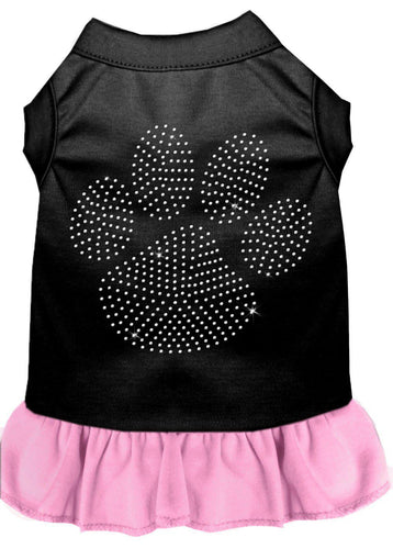 Rhinestone Clear Paw Dress Black With Light Pink-Dog Clothing-Bella's PetStor