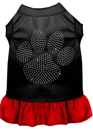 Rhinestone Clear Paw Dress Black With Red-Dog Clothing-Bella's PetStor