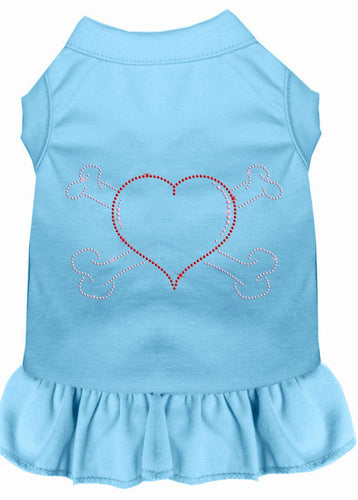 Rhinestone Heart And Crossbones Dress Baby Blue-Dog Clothing-Bella's PetStor