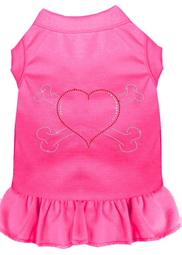 Rhinestone Heart And Crossbones Dress Bright Pink-Dog Clothing-Bella's PetStor