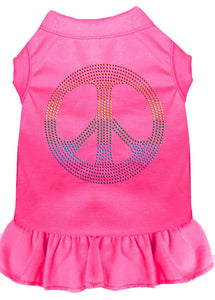 Rhinestone Rainbow Peace Dress Bright Pink-Dog Clothing-Bella's PetStor