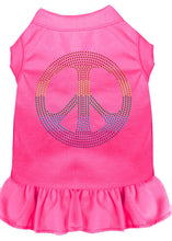 Load image into Gallery viewer, Rhinestone Rainbow Peace Dress Bright Pink-Dog Clothing-Bella's PetStor