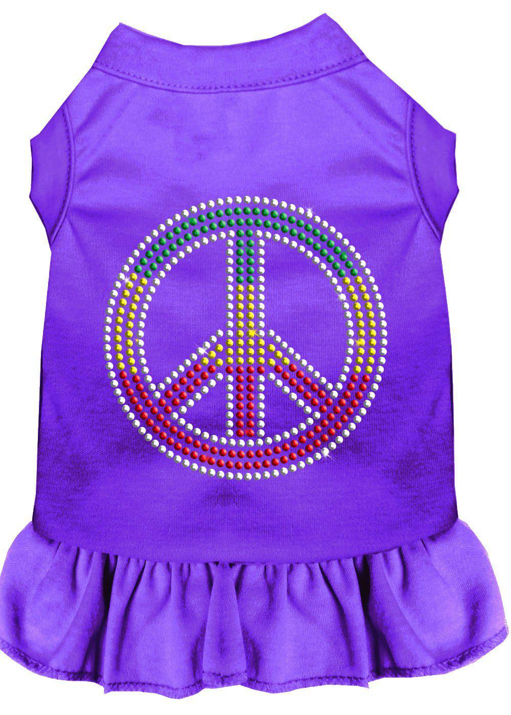 Rhinestone Rasta Peace Dress Purple-Dog Clothing-Bella's PetStor