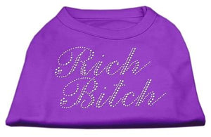 Rich Bitch Rhinestone Shirts Purple-Dog Clothing-Bella's PetStor