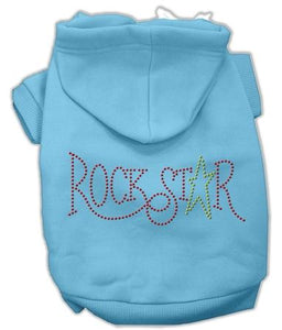 Rock Star Rhinestone Hoodies Baby Blue-Dog Clothing-Bella's PetStor
