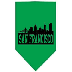 San Francisco Skyline Screen Print Bandana Emerald Green Small-San francisco skyline screen print bandana new pet products-Bella's PetStor