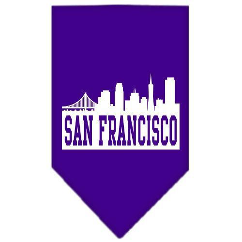 San Francisco Skyline Screen Print Bandana Purple Small-San francisco skyline screen print bandana-Bella's PetStor