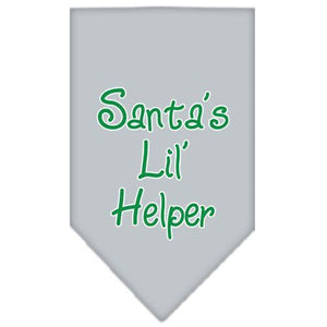 Santa Lil Helper Screen Print Bandana Grey Small-Christmas, Hannukah-Bella's PetStor