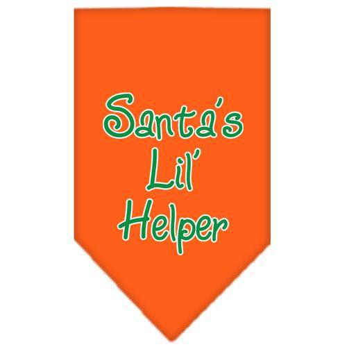 Santa Lil Helper Screen Print Bandana Orange Small-Christmas, Hannukah-Bella's PetStor