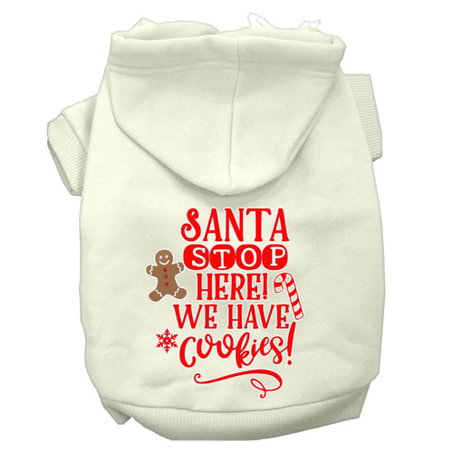 Santa, We Have Cookies Screen Print Dog Hoodie-Dog Clothing-Bella's PetStor