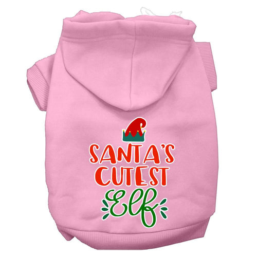 Santa's Cutest Elf Screen Print Dog Hoodie-Dog Clothing-Bella's PetStor