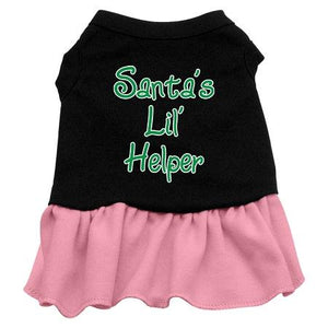 Santa's Lil Helper Screen Print Dress Black With-Christmas, Hannakuh-Bella's PetStor