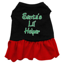 Load image into Gallery viewer, Santa's Lil Helper Screen Print Dress Black With-Christmas, Hannakuh-Bella's PetStor
