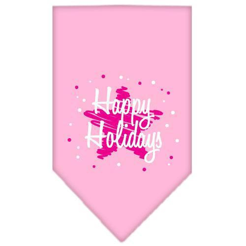 Scribble Happy Holidays Screen Print Bandana Light Pink Small-scribble happy holidays screen print bandana holiday pet products-Bella's PetStor