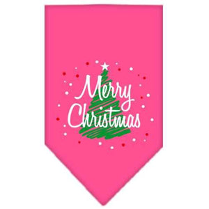 Scribble Merry Christmas Screen Print Bandana Bright Pink Small-Christmas, Hannukah-Bella's PetStor