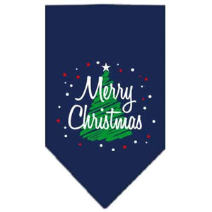 Scribble Merry Christmas Screen Print Bandana Navy Blue large-Christmas, Hannukah-Bella's PetStor