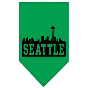 Seattle Skyline Screen Print Bandana Emerald Green Large-Seattle skyline screen print bandana new pet products-Bella's PetStor