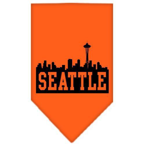 Seattle Skyline Screen Print Bandana Orange Large-Seattle skyline screen print bandana new pet products-Bella's PetStor