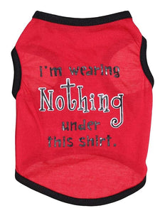 Shirt / T-Shirt Red Cotton, For Spring & Fall, Cat Dog-Pet Clothes-Bella's PetStor