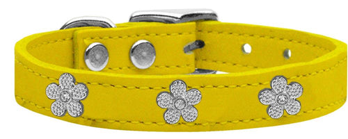 Silver Flower Widget Genuine Leather Dog Collar-Dog Collars-Bella's PetStor
