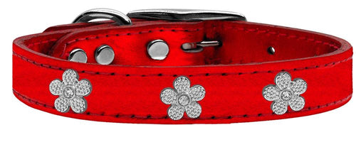 Silver Flower Widget Genuine Metallic Leather Dog Collar-Dog Collars-Bella's PetStor
