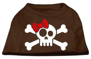 Skull Crossbone Bow Screen Print Shirt Brown-Dog Clothing-Bella's PetStor
