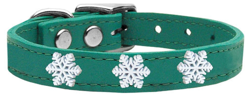 Snowflake Widget Genuine Leather Dog Collar-Dog Collars-Bella's PetStor