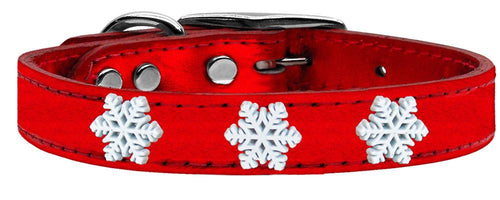 Snowflake Widget Genuine Metallic Leather Dog Collar-Dog Collars-Bella's PetStor