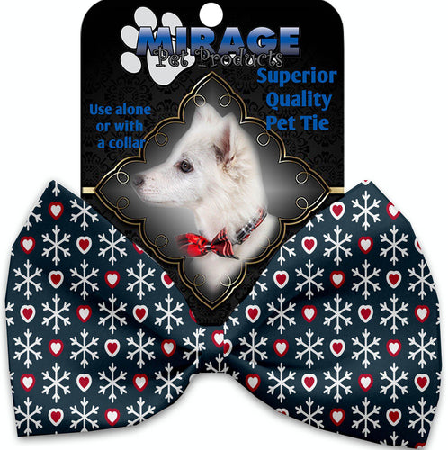 Snowflakes And Hearts Pet Bow Tie-Christmas, Hannakuh-Bella's PetStor
