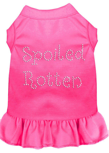 Spoiled Rotten Rhinestone Dress Bright Pink-Dog Clothing-Bella's PetStor