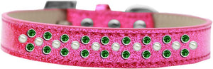 Sprinkles Ice Cream Dog Collar Pearl And Emerald Green Crystals Size-DOGS-Bella's PetStor