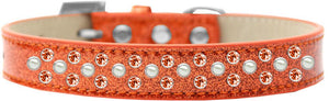 Sprinkles Ice Cream Dog Collar Pearl And Orange Crystals Size-DOGS-Bella's PetStor