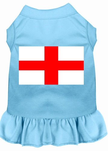 St. Georges Cross Screen Print Dress Baby Blue-Dog Clothing-Bella's PetStor