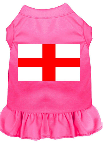 St. Georges Cross Screen Print Dress Bright Pink-Dog Clothing-Bella's PetStor