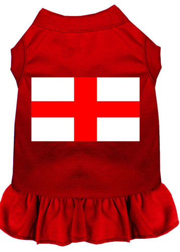 St. Georges Cross Screen Print Dress Red-Dog Clothing-Bella's PetStor