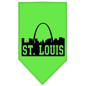 St Louis Skyline Screen Print Bandana Lime Green Large-St louis skyline screen print bandana new pet products-Bella's PetStor