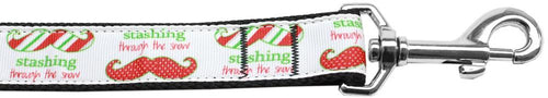 Stashing Through The Snow Nylon Dog Leash 5/8 Inch Wide Long-Christmas, Hannakuh-Bella's PetStor