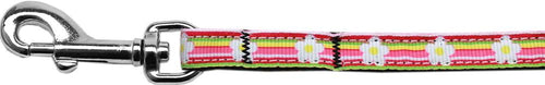 Striped Daisy Nylon Ribbon Pet Leash Inch Wide Lsh-Dog Collars-Bella's PetStor