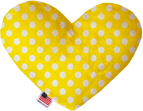 Sunny Yellow Swiss Dots Inch Canvas Heart Dog Toy-Made in the USA-Bella's PetStor