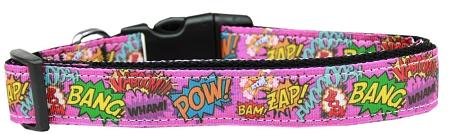 Superhero Sound Effects Pink Nylon Dog Collar-DOGS-Bella's PetStor