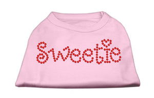 Sweetie Rhinestone Shirts Light Pink-Dog Clothing-Bella's PetStor