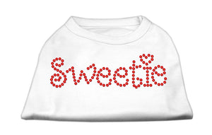 Sweetie Rhinestone Shirts White-Dog Clothing-Bella's PetStor