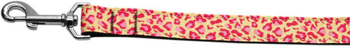 Tan And Pink Leopard Nylon Dog Leash Inch Wide Long-Dog Collars-Bella's PetStor