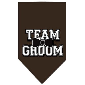 Team Groom Screen Print Bandana Cocoa Large-Team groom screen print bandana-Bella's PetStor